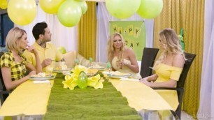 Adulttime Briana Banks Kenzie Taylor And Emma Hix Dinner With The In Law Riding Porn